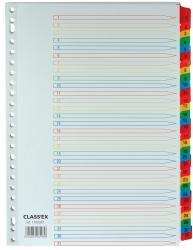 Class'ex tabbladen uit wit karton A4 set 1-31 gekleurde tabs