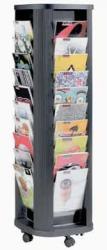 Paperflow Mobiele folderhouder Carrousel met 40 vakken - zwart