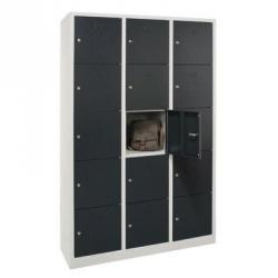 Lockerkast 15-deurs 190x119x45 cm grijs/antraciet