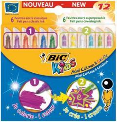 Bic Kids Viltstift Mini Color & Create - 12 stiften: 6 gewone en 6 dekkende inkt