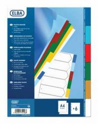 Elba personaliseeerbare tabbladen A4 uit PP met 6 gekleurde tabs