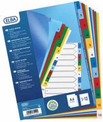 Elba numerieke tabbladen A4 uit gekleurde PP Set 1-12