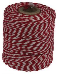 Katoentouw rood-wit klos van 50 g +/- 45m