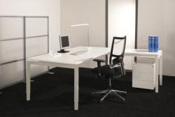 Arca bureautafel wit 4-poots met optie aanbouw