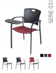 All-Tec serie 031 rood gestoffeerde zitting en kunststof rugleuning
