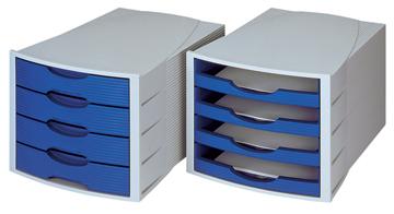 Han ladenblok monitor a4 met 4 open laden lichtgrijs blauw for Ladeblok han