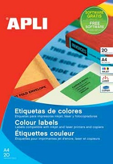 Apli gekleurde etiketten 70x37 mm blauw etui van 480 for Apli etiketten
