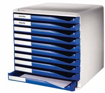 Leitz ladenblok met 10 laden lichtgrijs blauw eska office for Ladenblok 10 laden