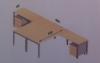 Domino opstelling bureau met ladeblokken