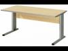 """Bureautafel """"Tool"""" met L-onderstel en zichtschot - 80x80 cm"""