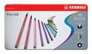 Stabilo Viltstift Pen 68 - Pak van 10 stiften in metalen doos