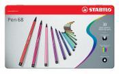 Stabilo Viltstift Pen 68 - Pak van 30 stiften in metalen doos