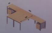 Domino dubbele opstelling bureau met ladeblokken